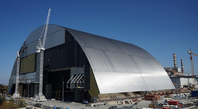 Giant €1.5 Billion Shelter Is Slid Into Place At Chernobyl Ceremony